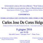 Locandina Conferenza professor De Cores Helguera 8.6